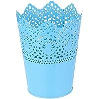 Metallo Tagliato Pianta Vaso Penna Pennello Piatto Trucco Titolare Scrivania In Ordine Organizzatore Blu