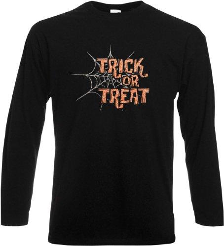 Langarm T-Shirt Trick or Treat Glitter Schwarz