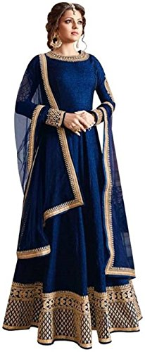 Feni Creation Women\'s Dress Material(Madhubala_Long_Anarkali_Gown_Navyblue_Free Size)