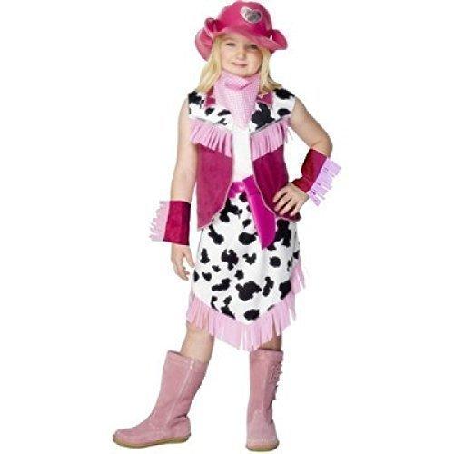 pink Rodeo Cowgirl Wilder Westen West Jessie büchertag Kostüm Kleid Outfit - Rosa, 3-5 years (3 Teiliges Cowgirl Kostüme)