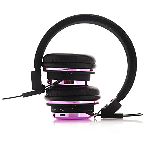 Penzo BT804 Bluetooth 4.0 Wireless-Over-Ear Noise Cancelling-Kopfhörer Stereo-Headset mit Mikrofon (Black-Pink)
