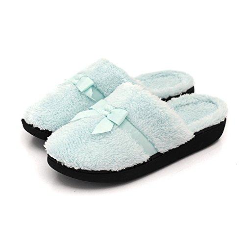 En automne et en hiver, maison pantoufles, femmes, coton, doux, confortable, chaud, insipide, peluche, semelle épaisse, anti-dérapant Blue