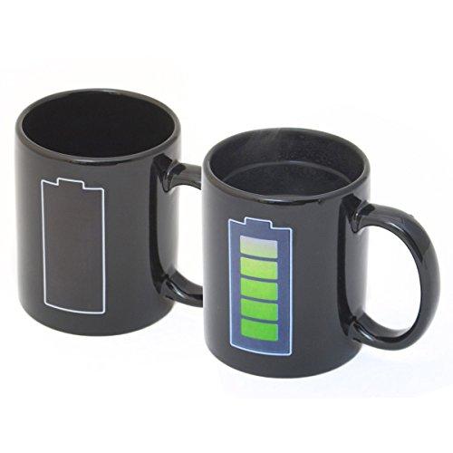 Goods & Gadgets Animierte Kaffeetasse mit Akku-Batterie Kaffeebecher Tee-Tasse Thermoeffekt mit Thermo Wärmeeffekt Farbwechsel -