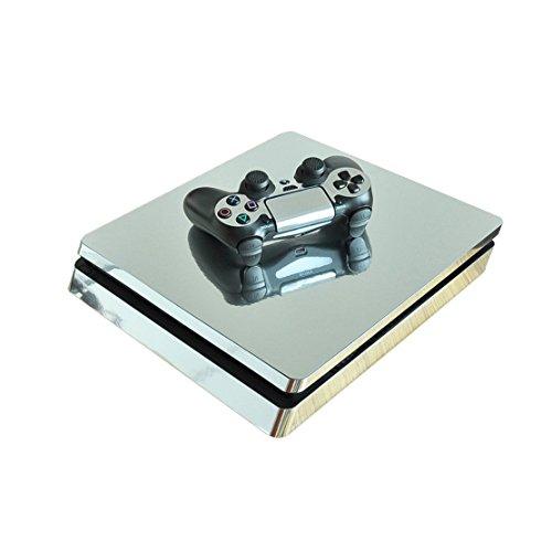 Stillshine PS4 Slim Pelli Vinile Adesivi Skin Sticker Giochi Playstation 4 Slim Sistema & Due Decalcomanie del Dualshock Controller (Glossy Silver)