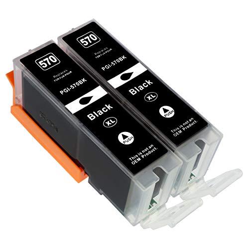 ESMOnline 2 komp. XL Druckerpatronen für Canon PGI-570PGBK XL Pixma MG 5700 5750 6800 6850 7700 7750 TS 5050 5051 5055 6050 6051 8050 8051 9050 9055 UVM