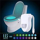 Queta 16 LED à couleurs WC pour abattant de WC du corps humain Induction détecteur de mouvement lumière