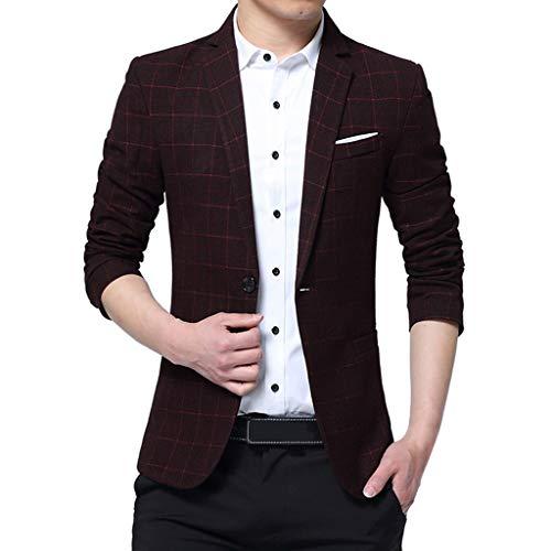 Xmiral Herren Anzüge Formal Geschäft Arbeitsplätze Blazer Umlegekragen Slim Fit Einfarbig Outwear mit Tasche Mantel Jacke (C Weinrot,3XL) -