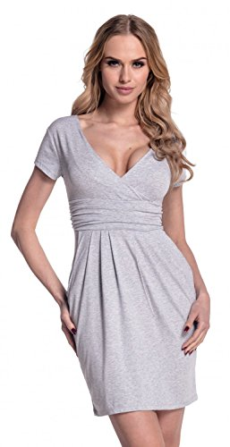 Glamour Empire. Damen Jersey Gerafftes Tulpenkleid mit Taschen Gr. 38-44. 806 Lichtgrau Melange