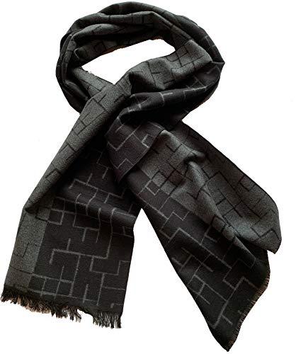 PB Pietro Baldini Luxus Schal Herren grau schwarz mit geometrischem Muster 100{7817aefe25b4221bb398d6e5e0f052b29355ebe09cffd8a118d48266cb0cc833} Seide, sehr edel