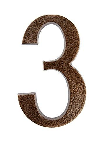 HUBER Hausnummer Nr. 3 Aluminium pulverbeschichtet kupfer antike 20 cm, edles dreidimensionales Design - Kupfer Schild