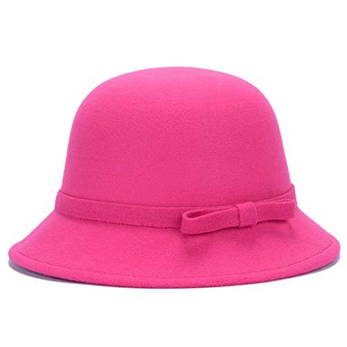 GOUNURE Wollfilz Eimer Cloche Hut Fedora Hüte Mode Elegante Floppy Trilby Hut Bowler Jazz Cap Sonnenhut mit Schleife -