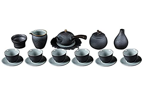 insun Glasur Keramik China Traditionelle Kung Fu Tee-Sets mit Tee Caddy und Vase, 19 Pack, grün, CJTZ028-1