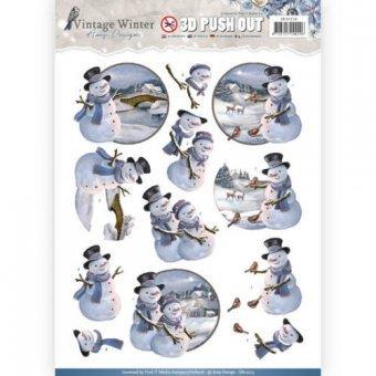 3D-Stanzbogen - Amy Design -Vintage Winter - Schneemann