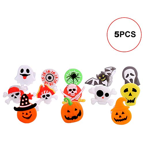 Xiton 5Pcs Halloween Light Ring Pumpkin Skeleton Ring Kid Party Favor (Color Random)