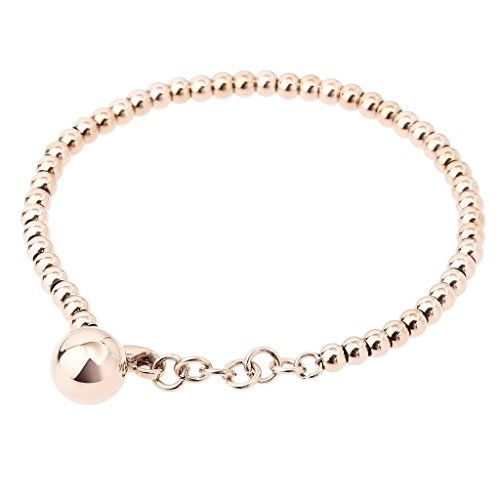 stahl Armband mit Anhänger Ball Perle Charme Bead-Kette Armbänder Damen Rosegold (Buben Ball)