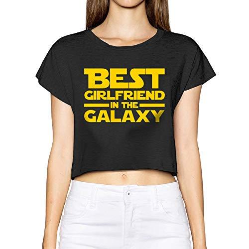 Bamboo Short Sleeve T-shirt (Best Girlfriend In The Galaxy Women's Short Sleeve Leak Navel T Shirt Crew Neck Blouses Tops Shirt Black M)