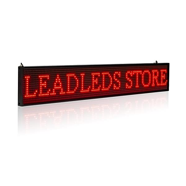 Leadleds LED Display Ultra-thin Design P5mm 16X96 Pixels SMD Programmable  Scrolling Message Sign Board, PC Software Change Messages (Red)