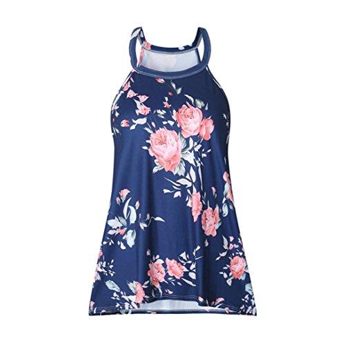 Bluestercool Femmes T-shirt décontracté Dos nu Débardeurs floraux Bleu