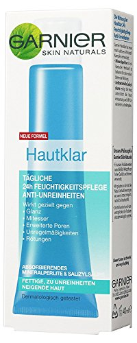 Crema hidratante facial de Garnier 24 h anti impurezas para pieles grasas, 3 botes de 40 ml.
