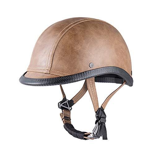 Open Face Helm Mopedhelm ABS Hochwertiges Leder Komfortfutter Personalisierte Vintage Helm Motorrad Prince Helm Erwachsene Unisex Modelle Elektroauto/Motorrad Reithelm