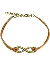Pulsera Fantasía cordón textil marrón y colgante Metal Dorado Envejecido–infinito