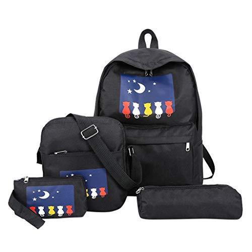 SCEMARK 1PC Tasche + 1PC Umhängetasche + 1PC Clutch Bag + 1PC Geldbörse Damen Rucksack gedruckte Katze Rucksack Travel Student Bag Schultasche Ausflug Reise Tasche