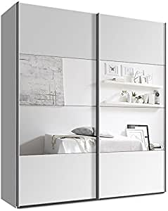 schwebet renschrank kleiderschrank ca 200 cm weiss mit spiegel schiebet renschrank amazon. Black Bedroom Furniture Sets. Home Design Ideas