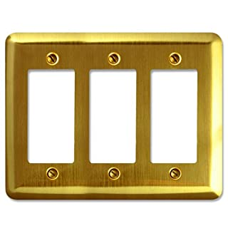 Amerelle 154RRR Decorative Round Corner Steel Wallplate with 3 Rocker, Brushed Brass