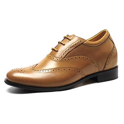 Bräune Casual Schuhe (CHAMARIPA Braun Herren Wingtip Oxford Casual Schnürhalbschuhe,7 cm erhöhen - 218A01)