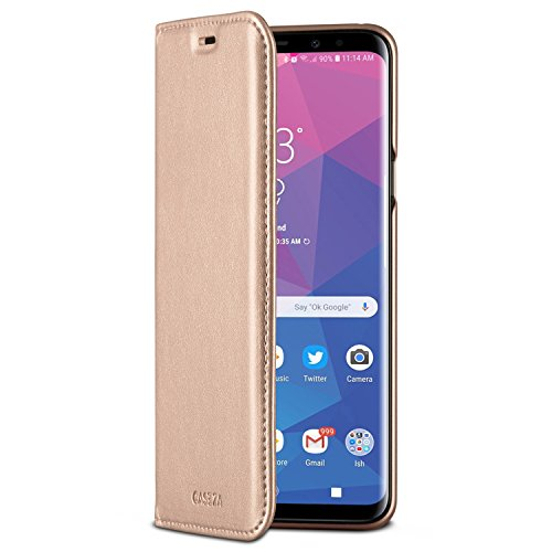 CASEZA Galaxy S9 Plus Flip Case Rose Gold Oslo Ultra Schlanke PU Leder Hülle Ledertasche Lederhülle fürs Original Samsung Galaxy S9+ (6,2 Zoll) - Edles Kunstleder Cover mit Magnetverschluss