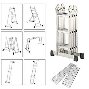 Froadp 470cm Escalera de Andamio en Aluminio Multifunción Plegable Escalera 6 en 1 Andamio con 2 Elevación Plataformas Cargable hasta 150KG(4×4 échelons)