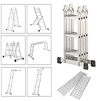 Froadp Escalera de Andamio en Aluminio Multifunción Plegable Escalera 6 en 1 Andamio con 2 Elevación Plataformas Cargable hasta 150KG