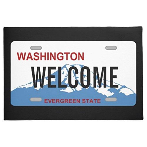 """OneMtoss Fußmatte Neopren Gummi Washington License Plate fussmatte innen Wohnzimmer Haustür Badezimmrt Badroom Outdoor/Indoor Doormat 23.6""""x15.7"""""""