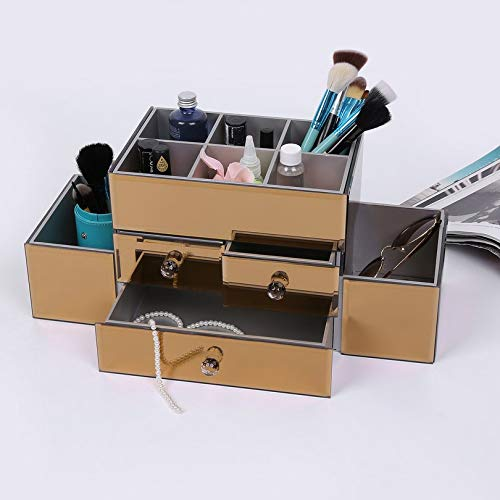 FGHGFCFFGH Beautify Large Mirrored Glass Jewelry Box & Cosmetic Makeup Organizer with 3 Drawers & 9 Sections for Make-up Brush Accessory Jewelry