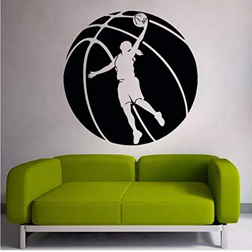 Pbldb Basketball Muster Mit Basketball Spieler Silhouette Kunst Wandaufkleber Home Sport Serie Decor Spezielle Wandbilder60X60 Cm (Halloween Fenster Silhouetten Muster)