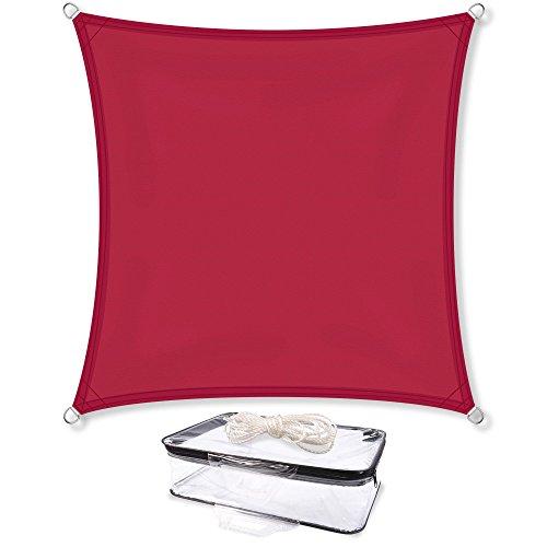 Sonnensegel Sonnenschutz Garten | UV-Schutz PES Polyester wasser-abweisend imprägniert | CelinaSun 1000123 | Quadrat 2 x 2 m rot