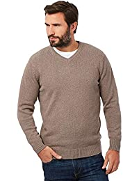 b0b2a9b55e97 Maine New England Men Big and Tall Knitted V Neck Long Sleeve Jumper Sweater  in Fawn