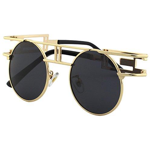 CGID Retro Sonnenbrille im Steampunk Stil, runder Metallrahmen, polarisiert, für Männer, (Burning Kostüme Frauen Man)