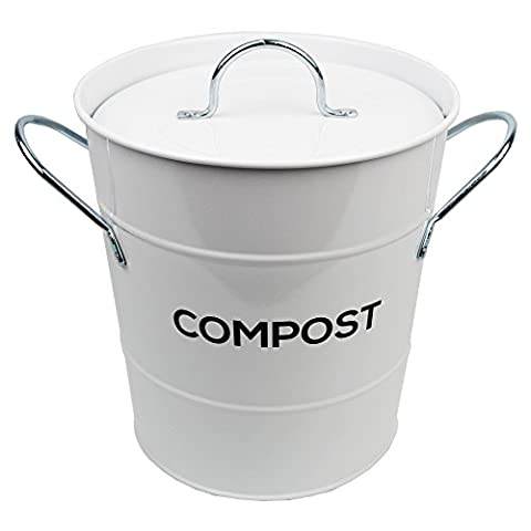 White Metal Kitchen Compost Caddy & 50x All-Green Biobags - Composting Bin for Food Waste Recycling