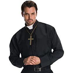 Rubies - Disfraz camisa cura con collar cruz, talla única (880568)