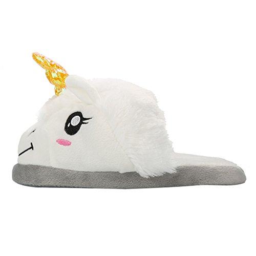 Chaussons-Peluche-Licorne-Unisex-Costume-Cosplay-Pantoufles-en-Coton-Chaussure-Maison-Doux-Blanc