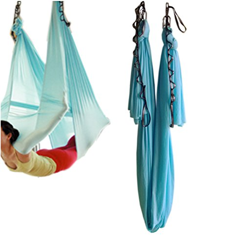 Wellsem (5m / set) elastica pilates yoga yoga swing aerea amaca con moschettone e margherita catena (cielo blu)