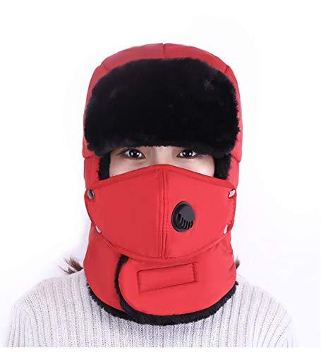 VJUKUB Männer Unisex Warm Trapper Aviator Trooper Earflap Winter Ski Hat mit Maske Baggy Slouchy Knitting Hüte,Red (Kleinkind Aviator Hut)