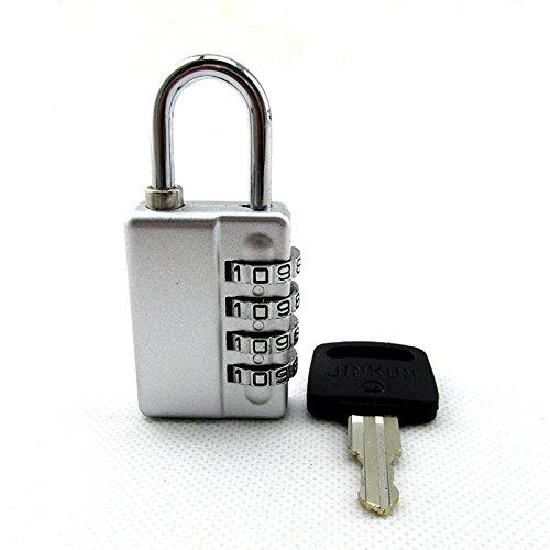 SUHAGN Vorhängeschloss Das 4-Stellige Passwort Taste Doppelklicken Die Kennwortsperre Tasche Werkzeugkoffer Mehr Kleiderschrank Zimmer Kleine Vorhängeschloss, Silber Mit Schlüssel Decodieren