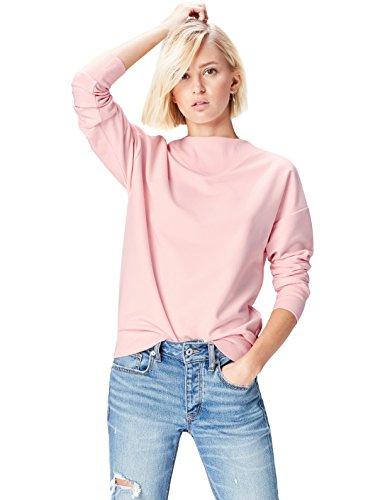 FIND Damen Hochgeschlossenes Sweatshirt mit Feinrippeinsatz Rosa (Soft Peach), 40 (Herstellergröße: Large) (Soft-pullover)