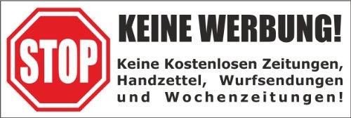 Keine Werbung! 1 weißer Briefkastenaufkleber 105x35 mm- Keine kostenlosen Zeitungen, Handzettel, Wurfsendungen und Wochenzeitungen!