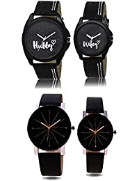 REMIXON Couple Watch With Hubby-Wifey Dial & Black Crystal Glass Watch - For Men & Women