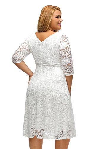Aleumdr Damen Plus Size Cocktail Kleider Spitze Blumen Partykleid Uboot Ausschnitt V-Rücken Weiß