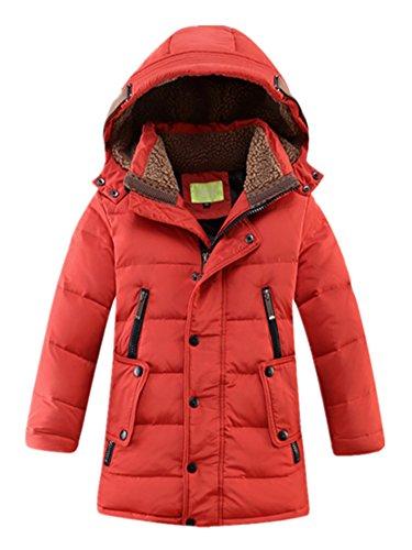 Crazycatz@ Winterjacke für Jungen Daunenmantel Kinder Jungen Steppjacke mit Fellkapuze Verdickte Daunenjacke Outerwear B2017