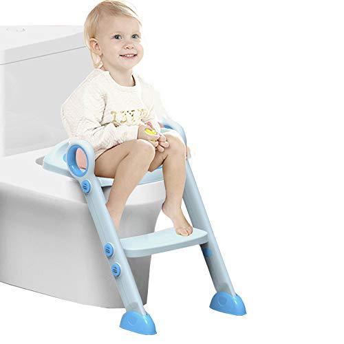 Asiento de entrenamiento para bebés ajustable con pasos Escalera de entrenamiento para inodoros Escalera para niños Asiento de inodoro con cojín de Esponja Pasos para bebés/niños de 2 a 8 años